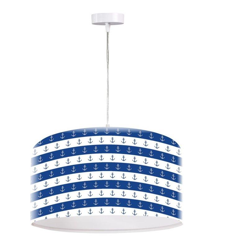 Lampa wisząca Anchor biało niebieska w kotwice styl marynarski dla małego chłopca