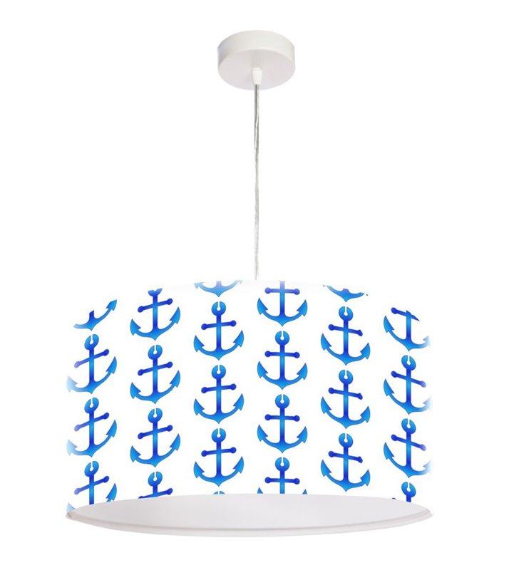 Wisząca dziecięca lampa z kotwicami Tristan biało niebieska dla chłopca