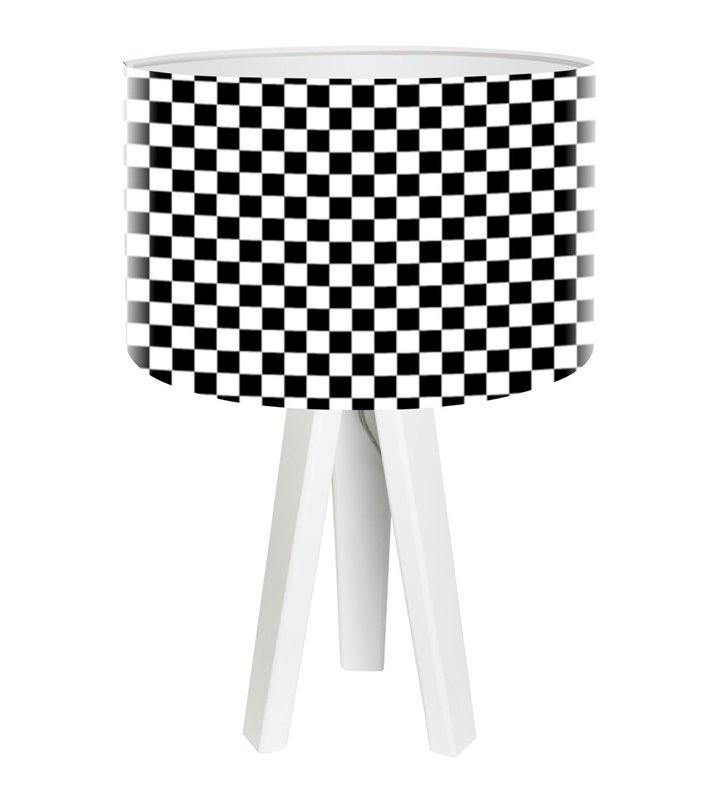 Lampa stołowa Chessboard 3 białe nogi abażur czarno biała szachownica