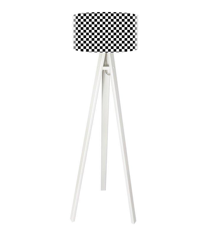Lampa podłogowa Chessboard podstawa drewniany trójnóg abażur czarno biała szachownica