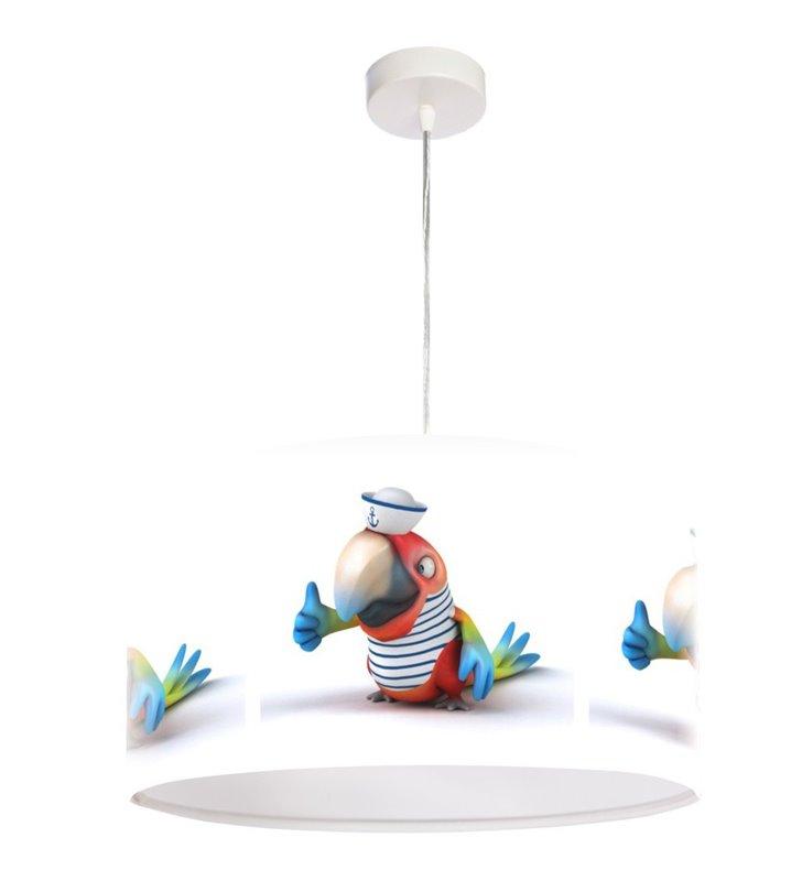 Lampa wisząca z kolorowym nadrukiem Papuga Marynarz do pokoju dziecięcego