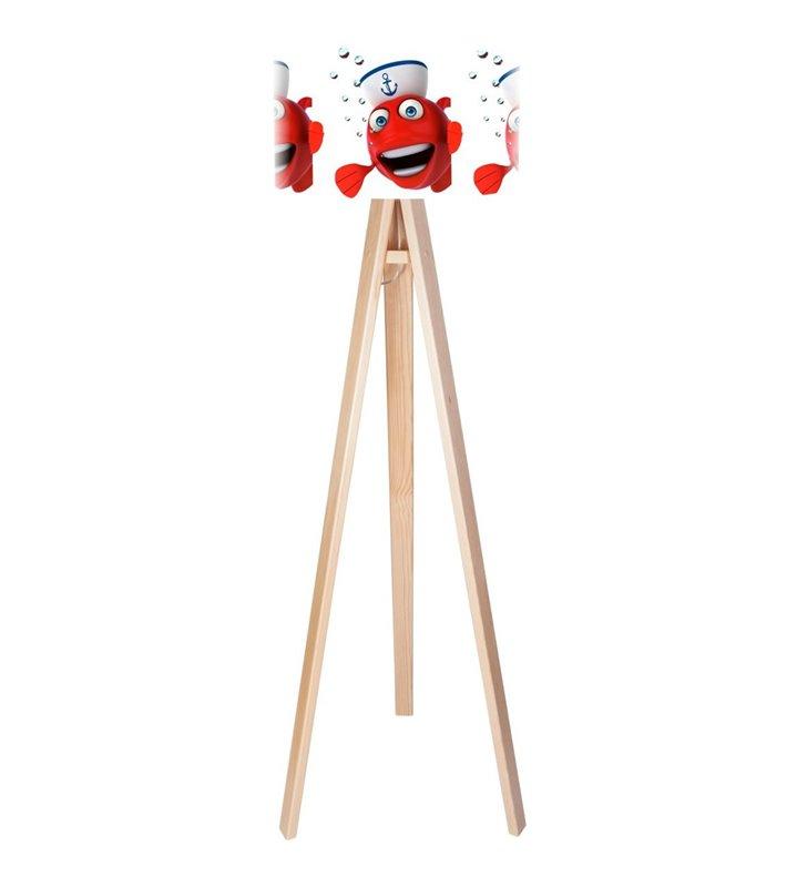 Lampa podłogowa dla dziecka Nemo abażur biały z kolorowym nadrukiem drewniany sosnowy trójnóg