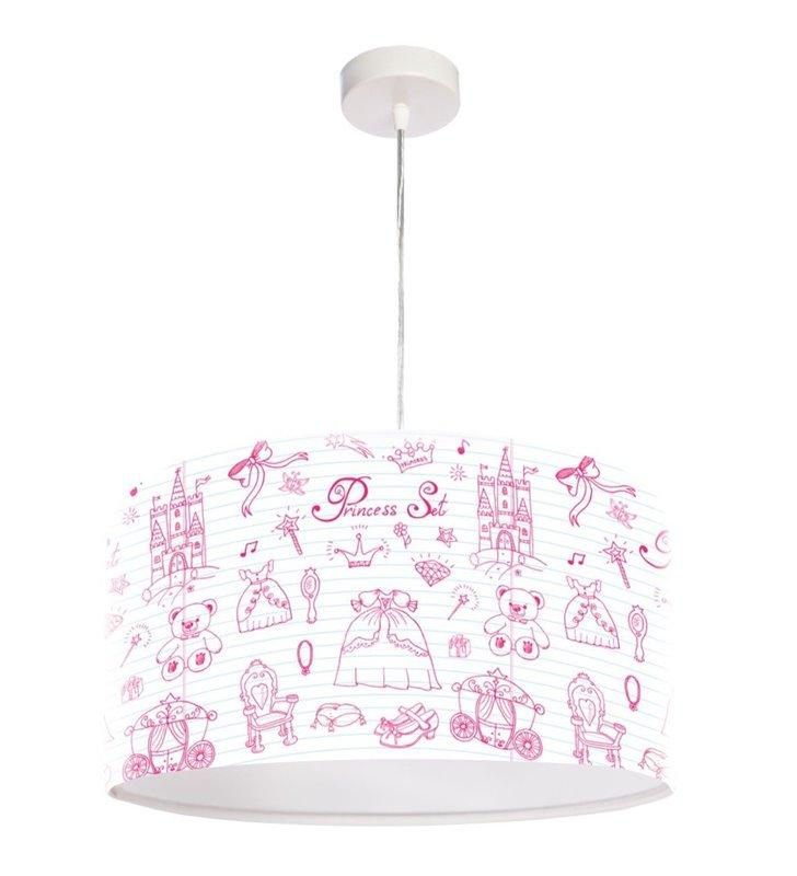 Biała dziewczęca lampa wisząca z różowym nadrukiem Charlotte