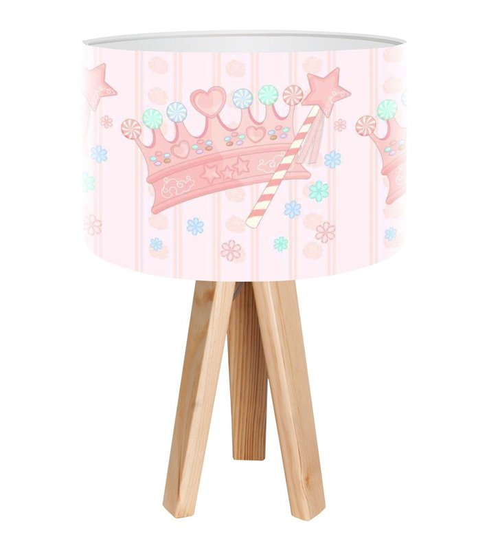 Lampka nocna stołowa Queen na 3 sosnowych nogach pastelowy klosz