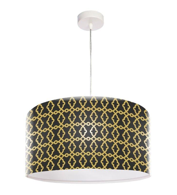 Cyril elegancka czarno złota lampa wisząca z nadrukiem do salonu jadalni kuchni