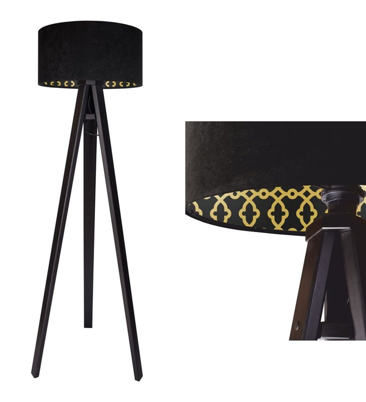 Lampa podłogowa Arletta czarna abażur welurowy z wewnętrznym nadrukiem 3 nogi z drewna