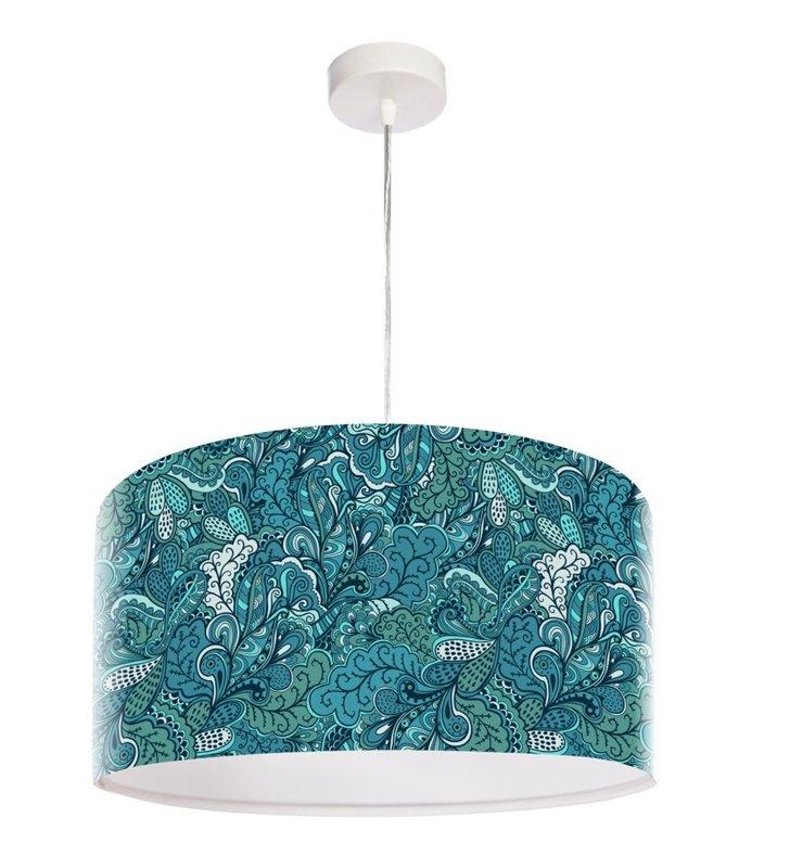 Lampa wisząca Jeansowy Pląs w odcieniach niebieskiego oryginalny nadruk na kloszu