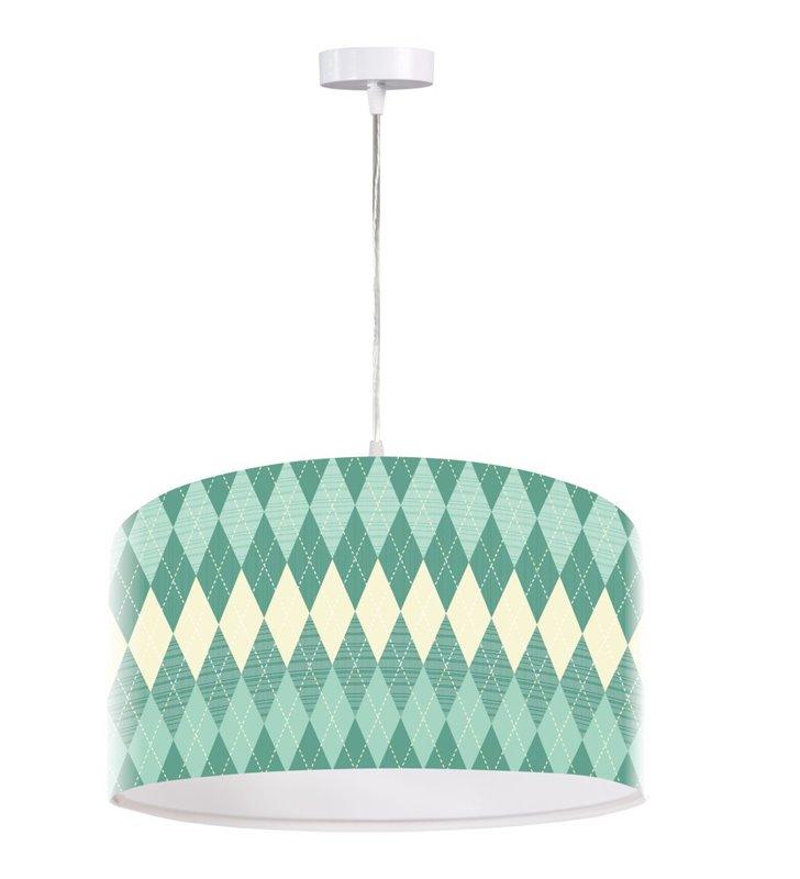 Lampa wisząca Turkusowe Romby nowoczesna abażur z tworzywa z nadrukiem