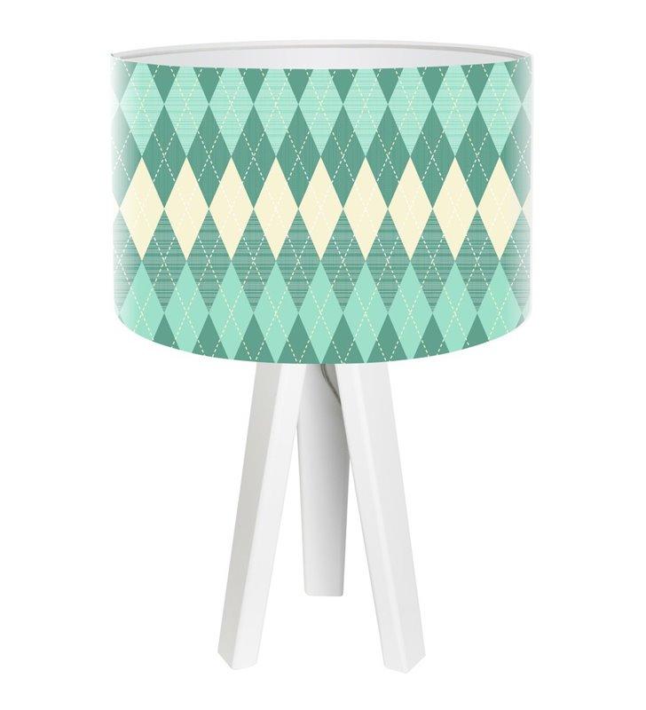 Turkusowe Romby lampka stołowa na 3 białych drewnianych nogach
