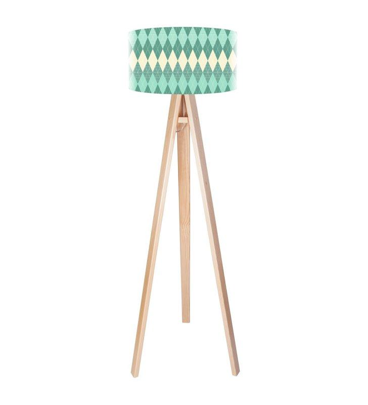 Lampa podłogowa Turkusowe Romby podstawa z drewna 3 nogi abażur z wysokiej jakości nadrukiem