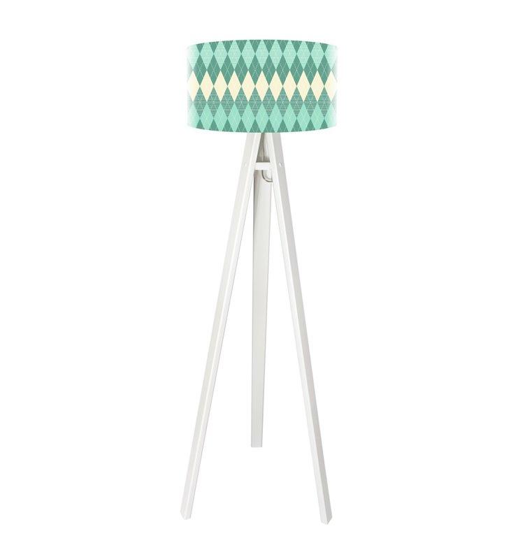Turkusowe Romby lampa stojąca na trójnogu w kolorze białym