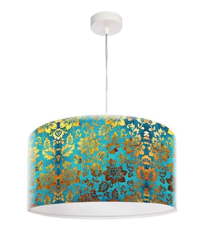 Lampa wisząca Pozłacany Ornament nadruk kwiatowy w kolorze złotym abażur z tworzywa