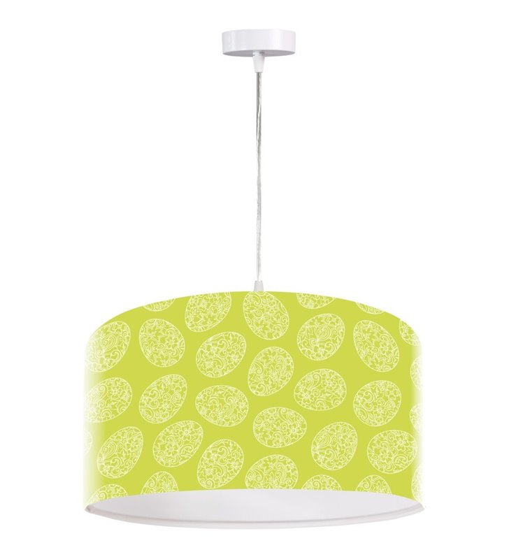 Lampa wisząca Wiosna biało zielona abażur z nadrukiem