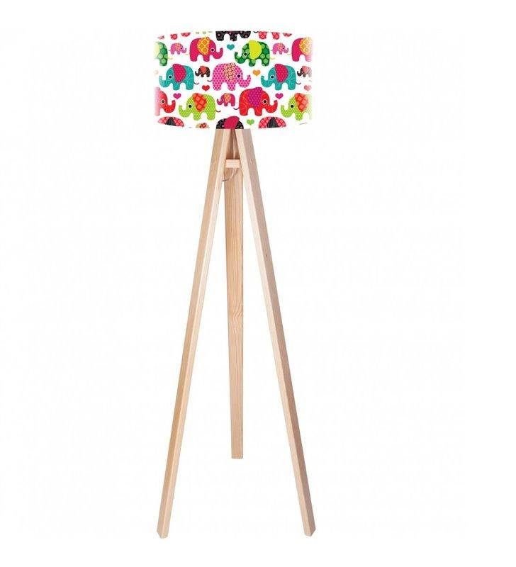 Szczęśliwy Słonik dziecięca lampa stojąca na 3 nogach abażur z kolorowym nadrukiem