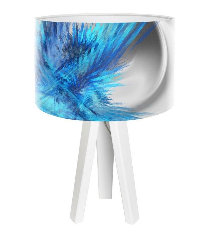 Lampa stołowa Magia Chabru biała drewniana podstawa abażur z nadrukiem