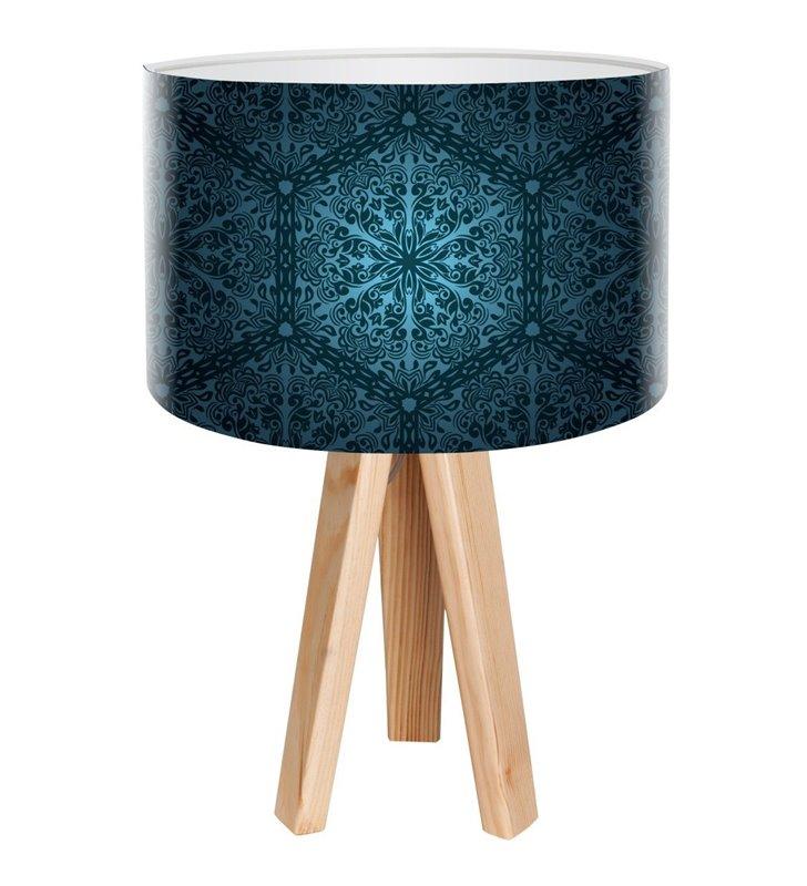 Głębia Granatu lampa stołowa z ciemnym granatowym abażurem 3 sosnowe nogi do salonu sypialni jadalni na stolik nocny komodę