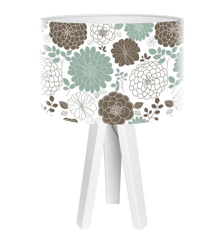 Lampa stołowa Malvine kwiatowy abażur biały trójnóg z drewna