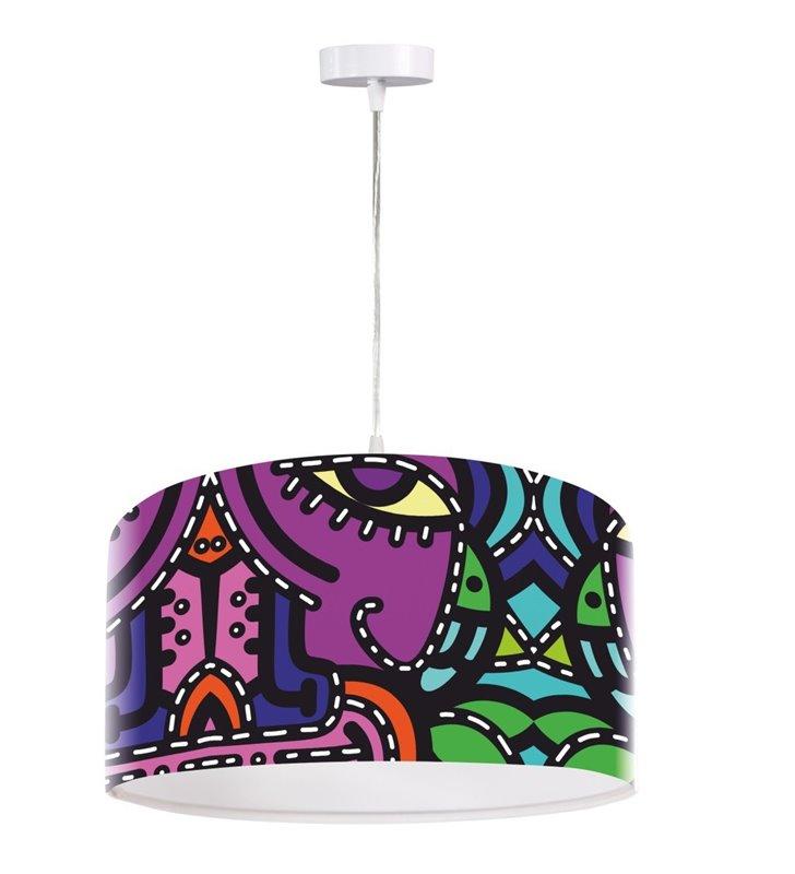 Wielobarwna lampa wisząca z nowoczesnym nadrukiem Pablo