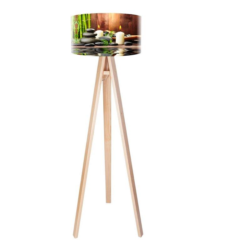 Lampa podłogowa Spa trojnóg sosna abażur barwny nadruk