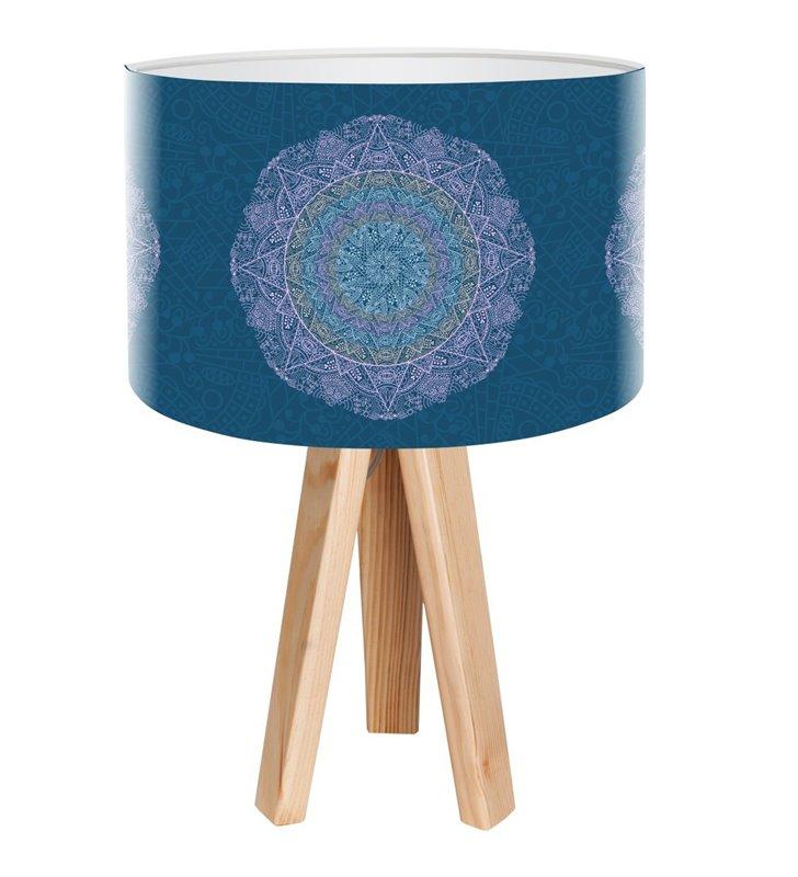 Lampa stołowa z niebieskim abażurem z ozdobnym dekorem Delikatna Rozeta