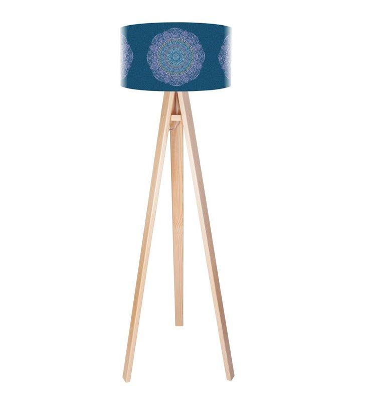 Delikatna Rozeta lampa stojąca z niebieskim abażurem delikatny dekor