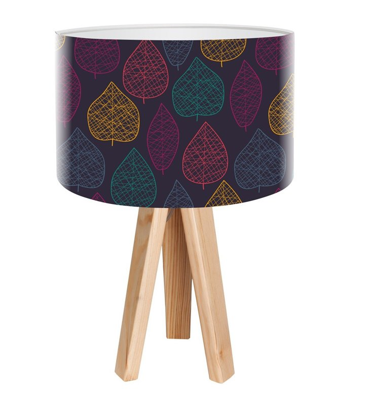 Lampa stołowa Listkowy Motyw z ciemnym abażurem ze wzorem kolorowe liście