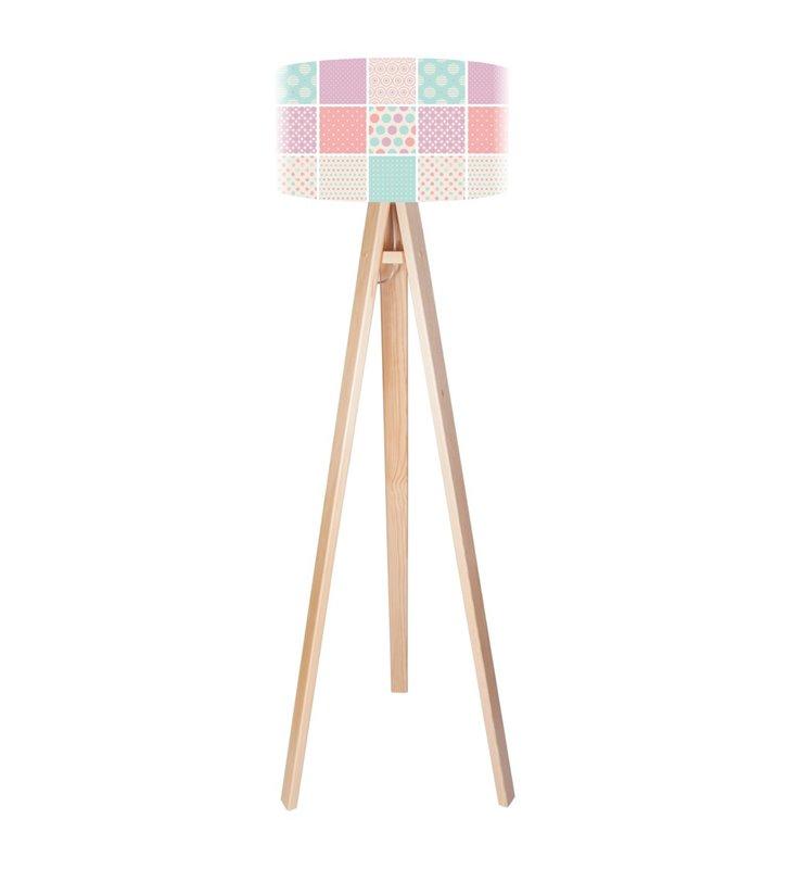 Lampa podłogowa Landrynkowy Raj kolorowa pastelowa 3 sosnowe nogi