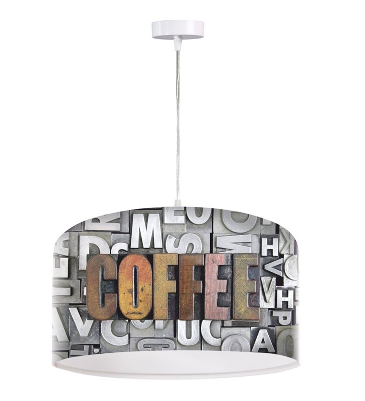 Kuchenno jadalniana lampa wisząca z napisem Coffee