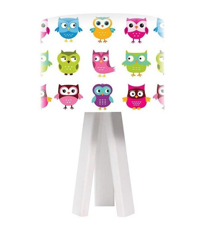 Lampka stołowa do pokoju dziecięcego Kolorowe Sówki