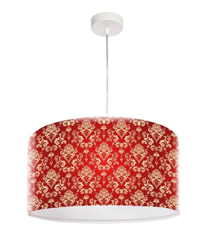 Czerwona lampa wisząca z eleganckim wzorem Klasyczny Deseń