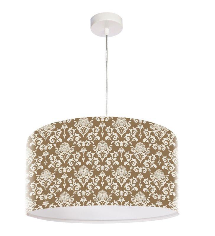 Beżowo biała lampa wisząca Valerie abażur z dekoracyjnym ornamentem