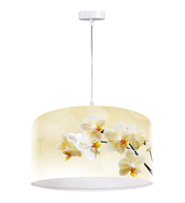 Jasna lampa wisząca Waniliowe Storczyki abażur z kwiatowym nadrukiem