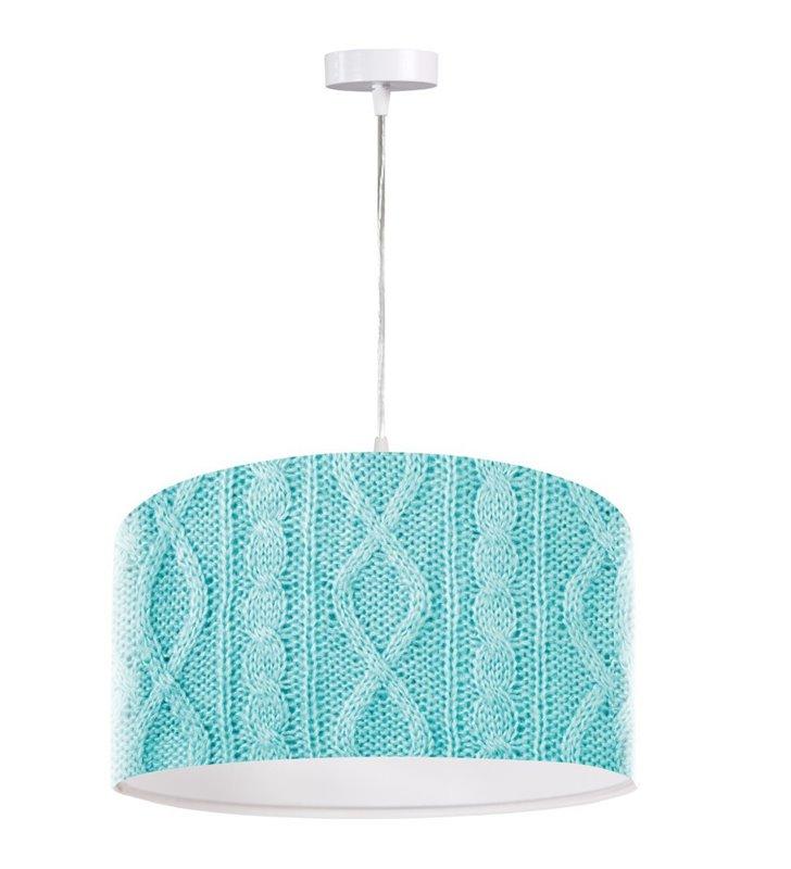Niebieska lampa wisząca Błękitny Sweterek nowoczesna z oryginalnym nadrukiem