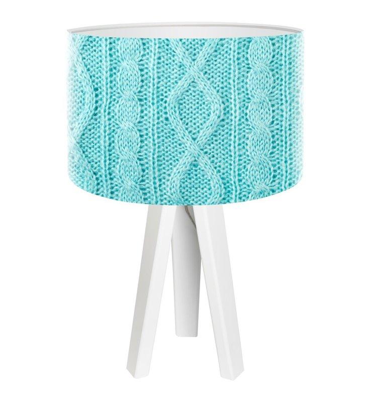 Lampa stołowa Błękitny Sweterek niebieski abażur biała drewniana podstawa