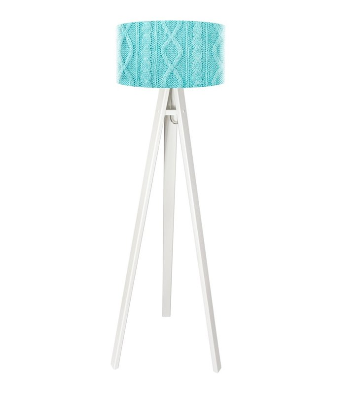 Lampa podłogowa Błękitny Sweterek abażur z oryginalnym wzorem w kolorze niebieskim
