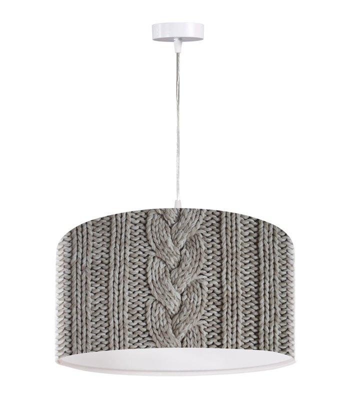 Szara lampa wisząca Szary Sweterek nowoczesna z oryginalnym nadrukiem