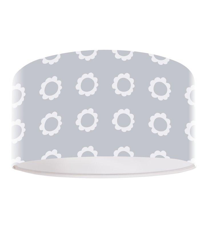 Lampa wisząca Blanka szara z białymi kwiatkami