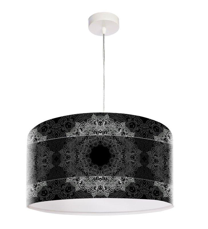 Pokojowa lampa wisząca Mandala Elegancji czarna z dekorem