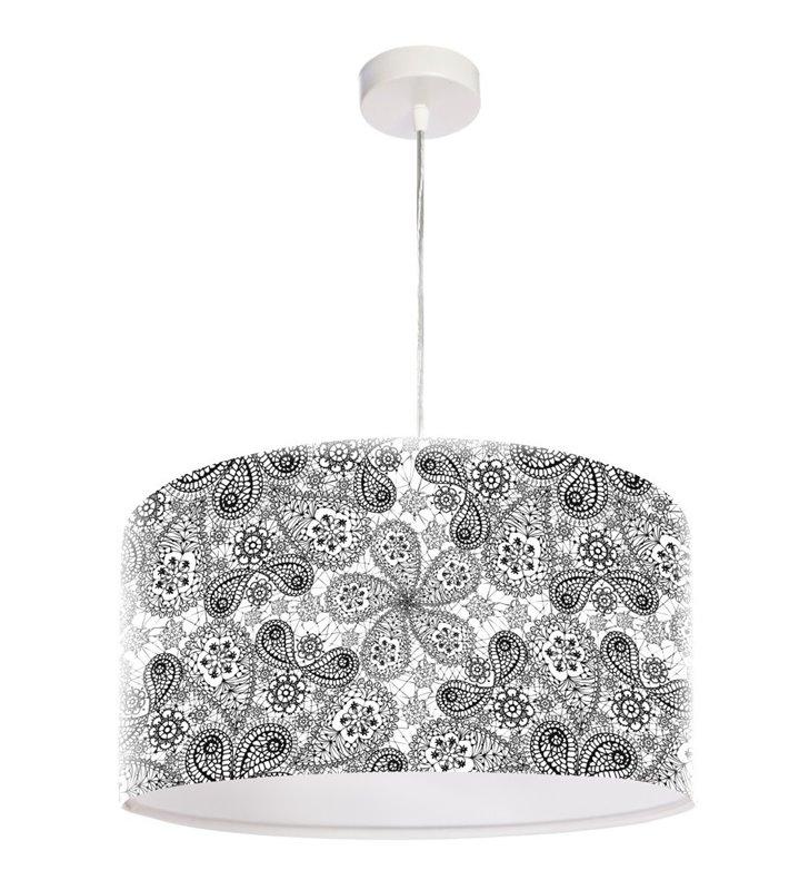 Lampa Wisząca Mandala Rozkoszy biało czarna średnica 50cm