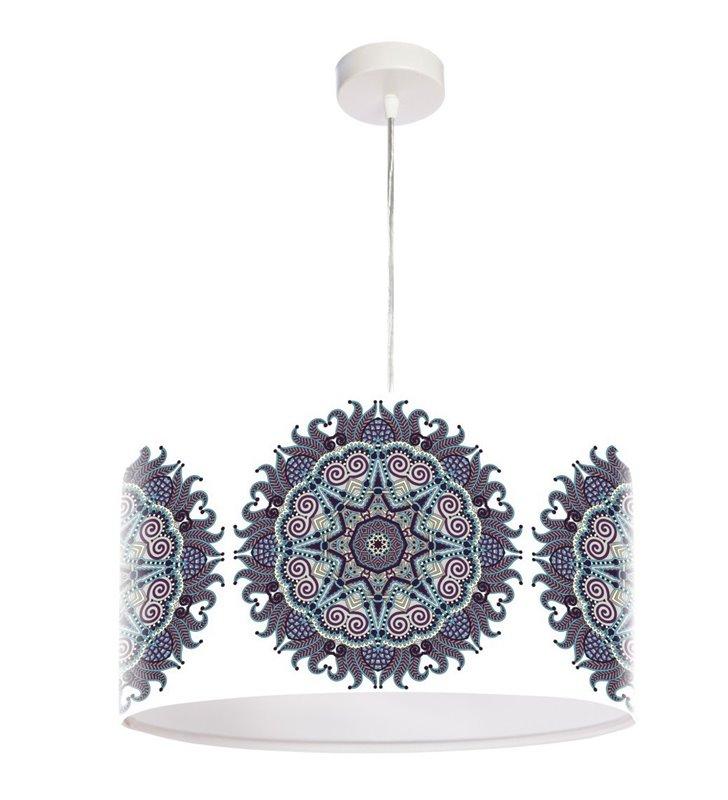 Lampa wisząca Mandala Rozkwitu biała z barwnym wzorem
