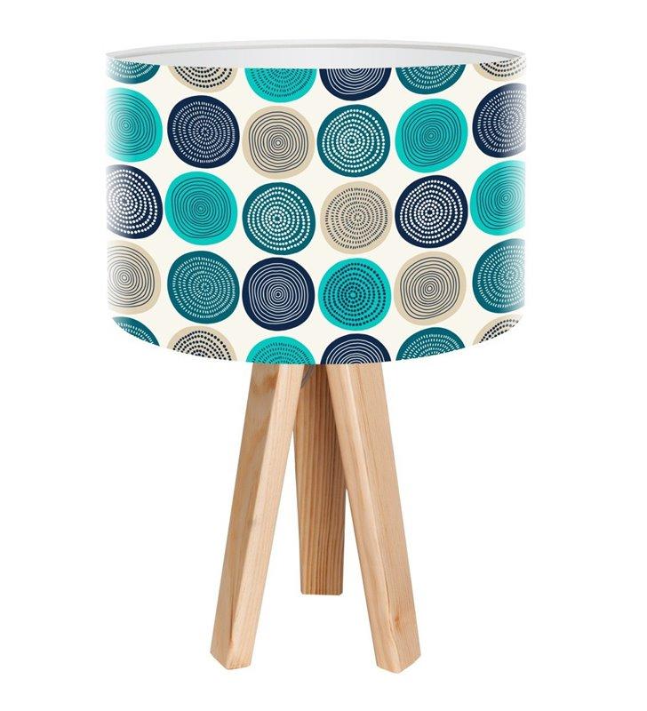 Lampa stołowa Freak Folk 3 drewniane nogi abażur z kolorowym nadrukiem