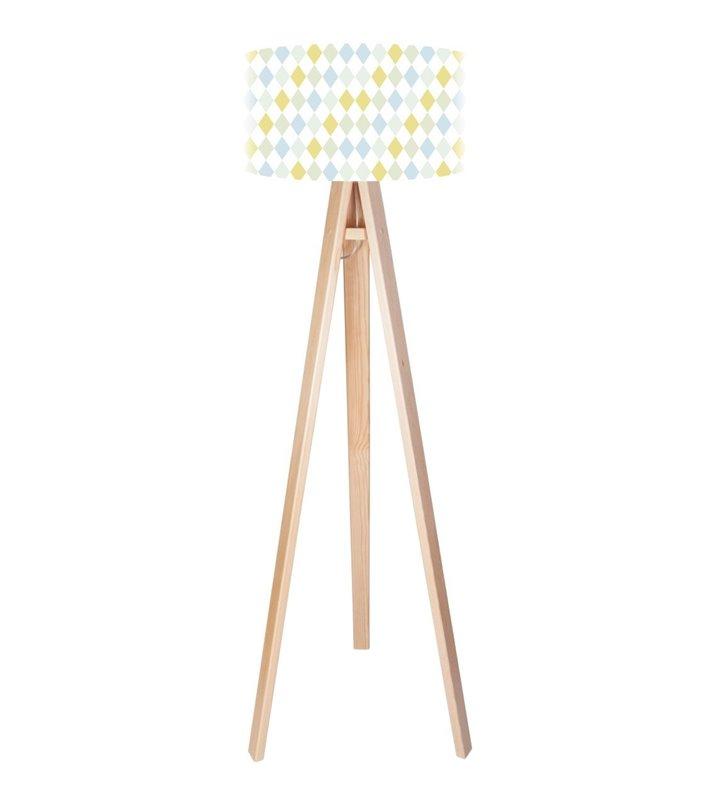 Pastelowe Romby dziecięca lampa podłogowa na drewnianej podstawie