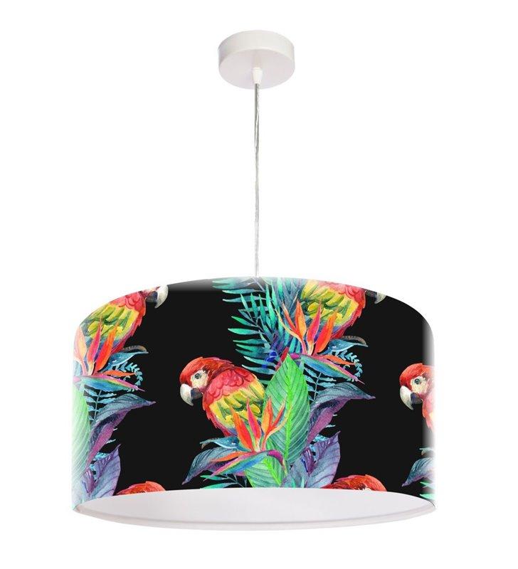 Czarna lampa wisząca z kolorowym nadrukiem Egzotyczna Papuga