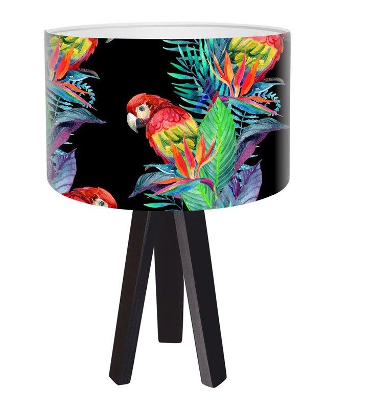 Czarna lampa stołowa z kolorowym abażurem Egzotyczna Papuga
