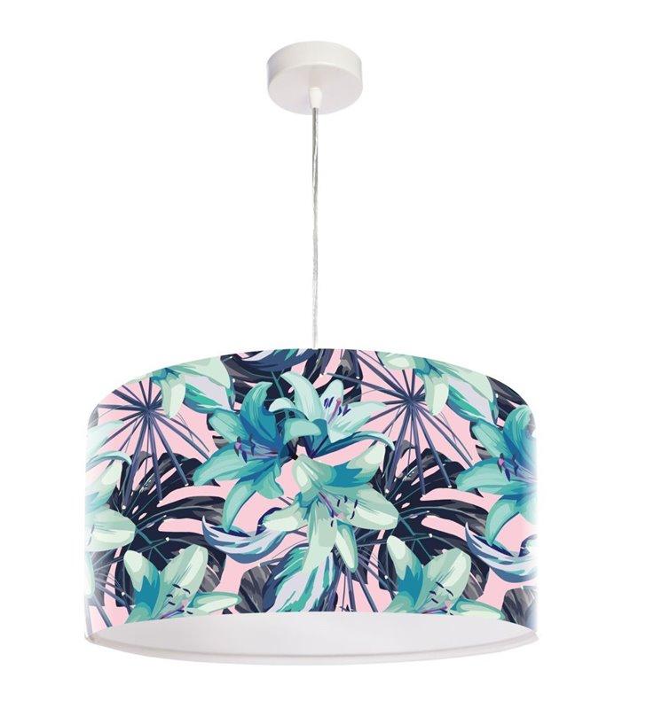 Lampa wisząca z kolorowym kwiatowym nadrukiem Tropikalna Lilia