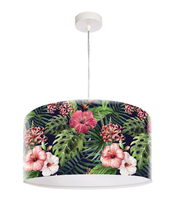 Lampa zwisająca z kwiatowym wzorem Czarna Róża Chińska do salonu jadalni kuchni sypialni