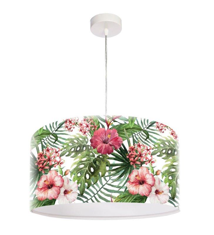 Zwis sufitowy z kwiatowym wzorem Biała Róża Chińska do salonu jadalni kuchni sypialni