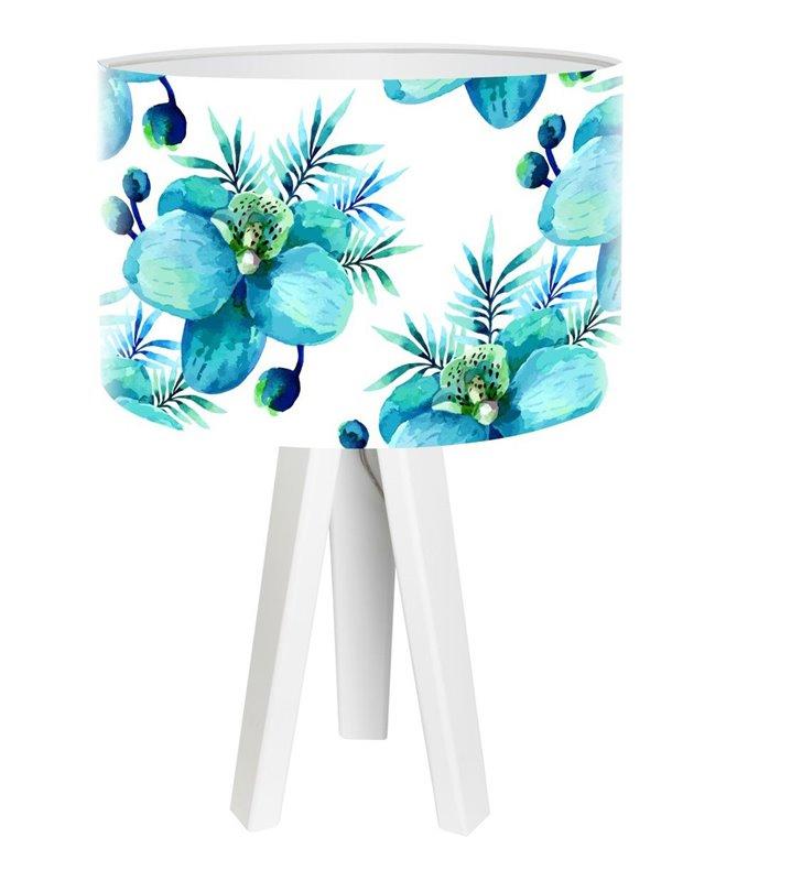 Biała lampa stołowa z abażurem w kwiaty Błękitny Storczyk