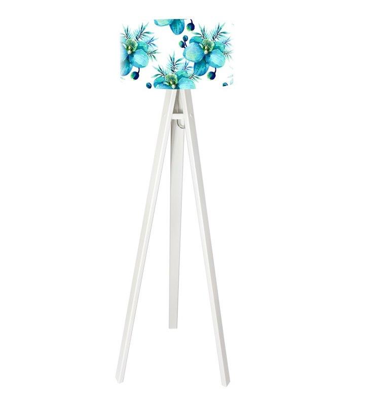 Biała lampa podłogowa na trójnogu z kwiatowym abażurem Błękitny Storczyk