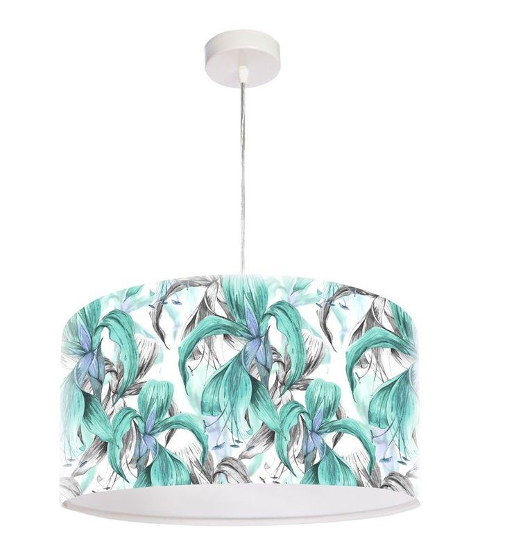 Jasna kwiatowa lampa wisząca Błękitna Areka